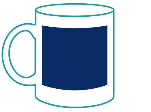 Tassendruck Logodruck gegenüber Ansicht