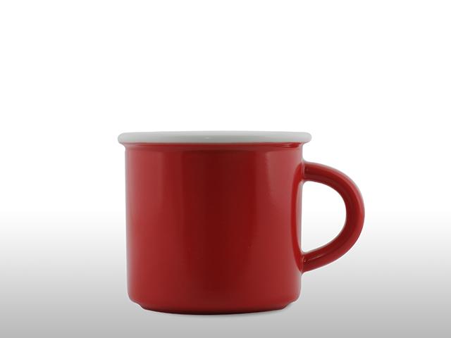 Emaille Porzellan Tasse Rot