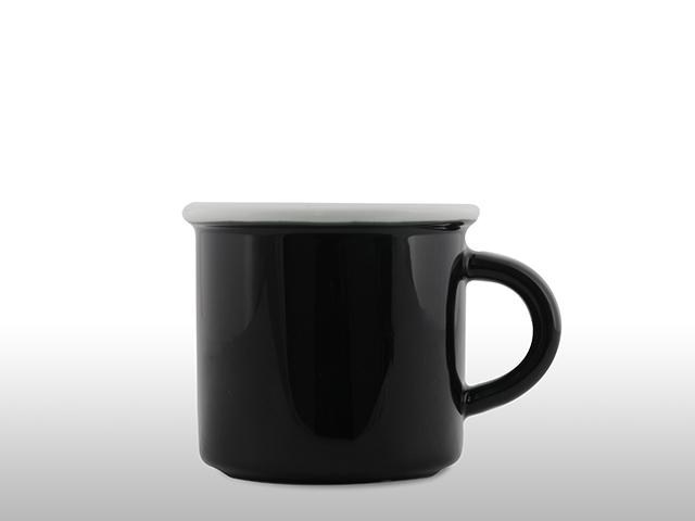 Emaille Porzellan Tasse Schwarz