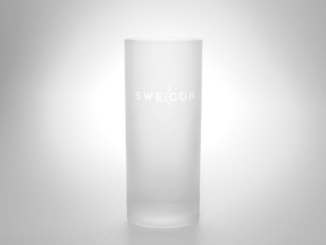 Glas mit Werbe-Anbringung, Logo Aufdruck, Logoanbringung, matt, bunt, glas klar, satiniert