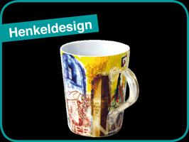 Henkel-Design farbig über den Druck auf Werbetasse