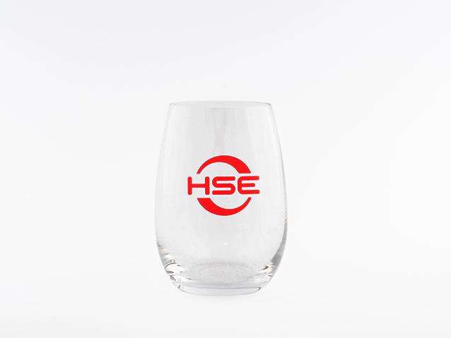 Glas mit Werbe-Anbringung, Logo Aufdruck, Logoanbringung
