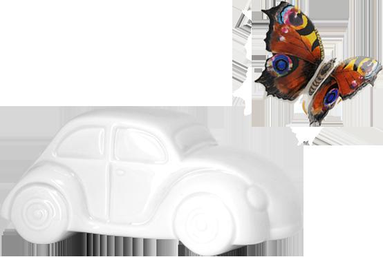 Werbeartikel Spardose Auto und Formenbau Schmetterling